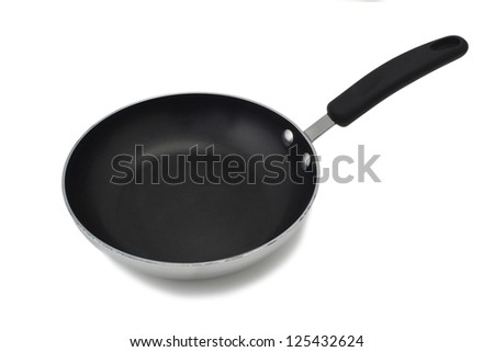 Close-up image of a frying pan over the white background