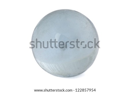 Close-up image of a gray glass marble against the white background - stock photo