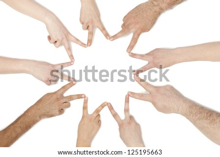 Close-up image of a group of hands connecting with a peace sign over the white background
