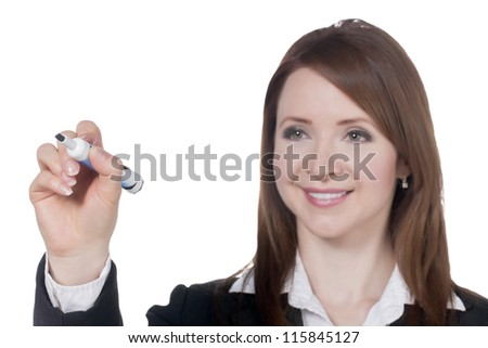 Close-up image of a happy businesswoman with marker writing over the white background