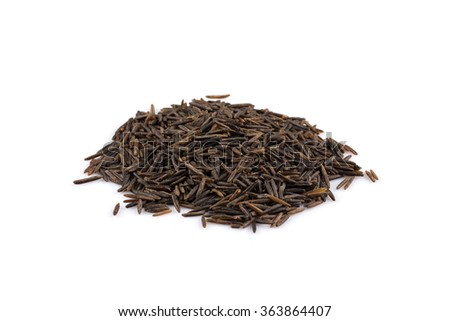 Close up image of a heap of wild rice on white background
