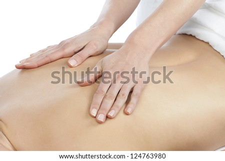 Close-up image of a lady lying while masseur giving her a back massage