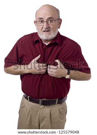 Close-up image of a male senior wearing casual having a heart attack - stock photo