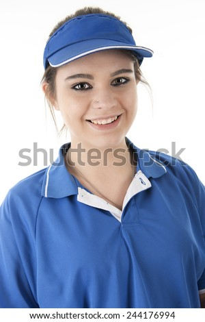 Close-up image of a pretty young fast-food employee smiling at the viewer.  On a white background. - stock photo