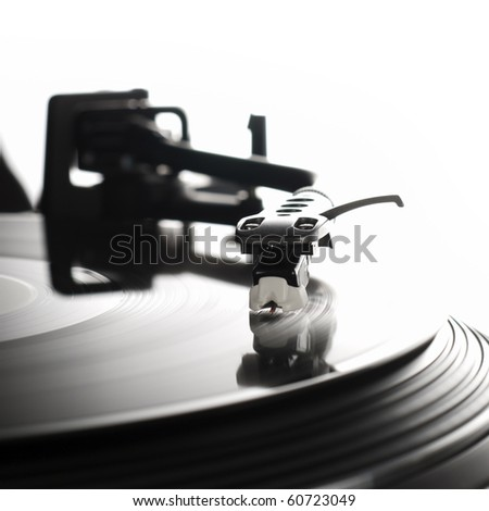 Close-up image of a record player