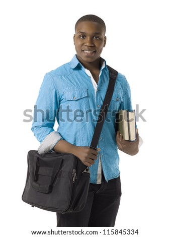 Close-up image of a smiling male student holding books isolated on a white surface - stock photo