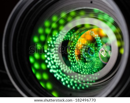 Close up image of a telephoto DSLR lens, the reflection of light is amazing - stock photo