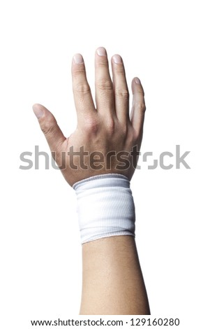 Close-up image of a white medicine bandage on human hand. - stock photo