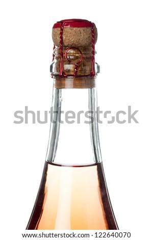 Close-up image of a white wine bottle displayed on white background. - stock photo