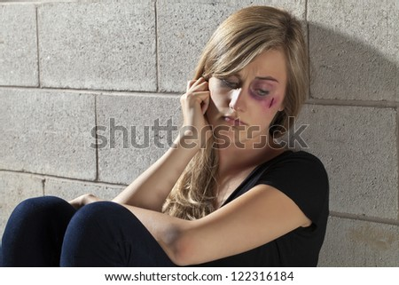 Close up image of abuse young woman - stock photo