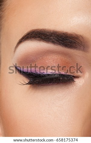 Close up image of an eye with professional make up. Fashion and beauty. Healthy skin