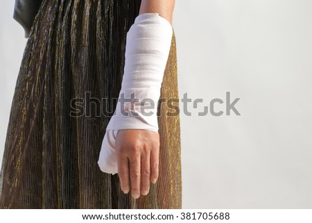 Close-up image of arm splint for treatment of injuries from ankle sprain. - stock photo