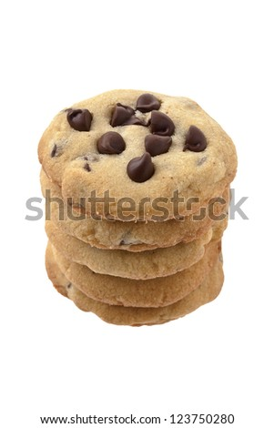 Close-up image of arrangement of chocolate chip cookies on a white background - stock photo
