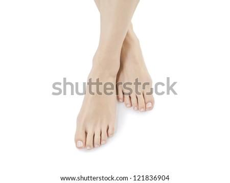 Close up image of bare feet against white background - stock photo