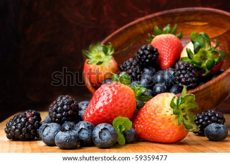 Close-up image of berries isolated with abstract background - stock photo