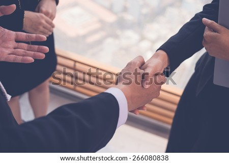Close-up image of business partners shaking hands - stock photo