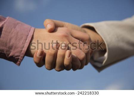 Close-up image of business people shaking their hands - stock photo