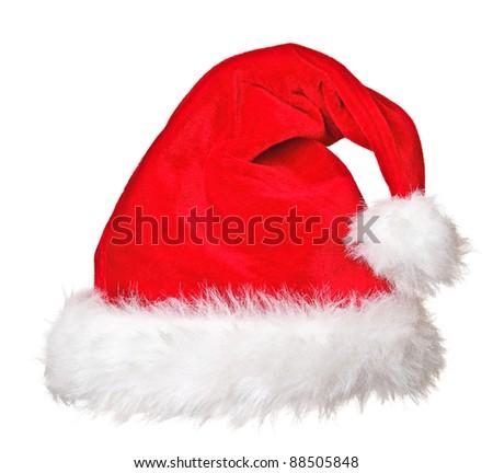 close up image of classic santa cap - stock photo