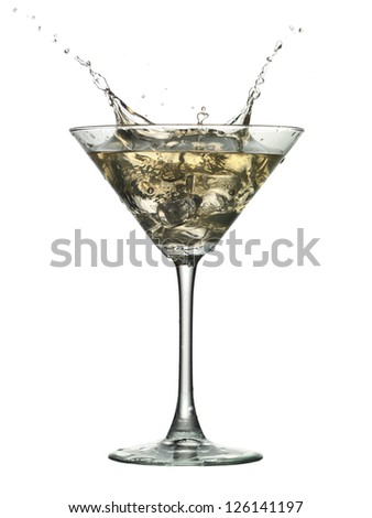 Close up image of cocktail drink with splash against white background
