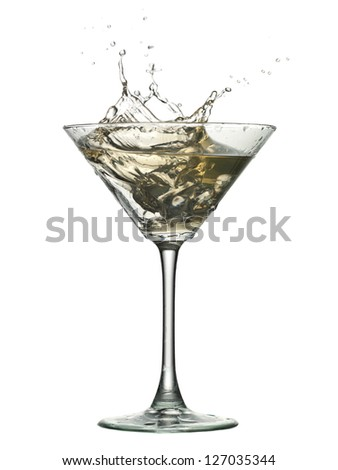Close up image of cocktail with ice splash against white background
