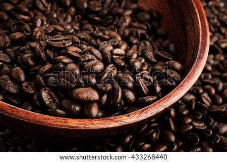 Close-up image of coffee beans, background image