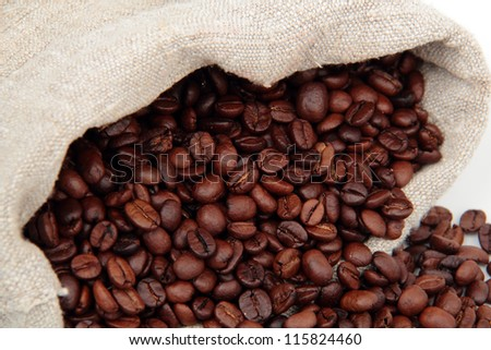 Close up image of coffee beans in canvas sack