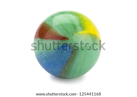 Close up image of colorful marble ball against white background