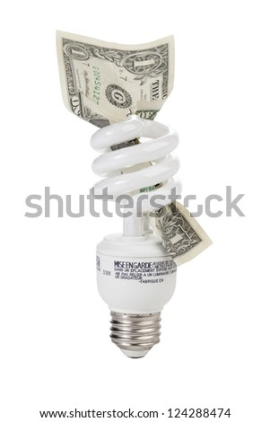 Close up image of compact fluorescent light bulb with dollar against white background (foreign text on bulb) - stock photo