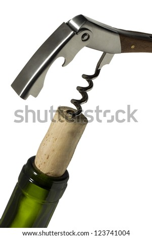 Close-up image of cork screw on wine bottle neck isolated on a white background