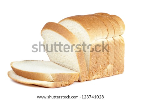 Close up image of cut of loaf bread on white against white background - stock photo