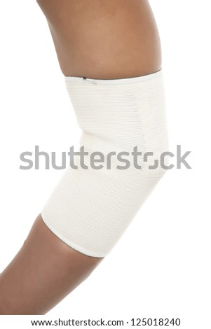 Close up image of elbow band in arms isolated on white background - stock photo