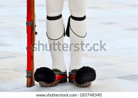Close up image of Evzoni soldier, ceremonial guard in front of Greek parliament - stock photo