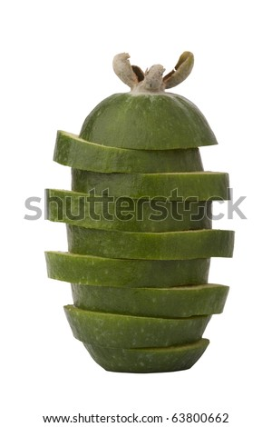 close-up image of  feijoa fruit, cut in slices, isolated on white background