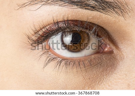 Close up image of female brown eye - stock photo