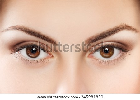 Close up image of female brown eyes - stock photo