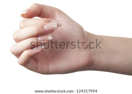 Close up image of female hand against white background