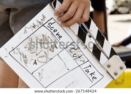 close up image of Film Slate, behind the scene - stock photo