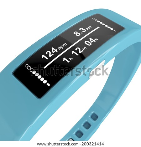 Close-up image of fitness tracker on white background - stock photo