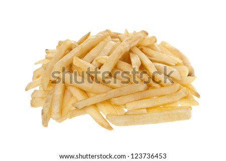 Close up image of fried potato fries against white background