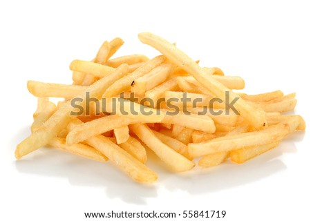 Close-up image of fries studio isolated on white background