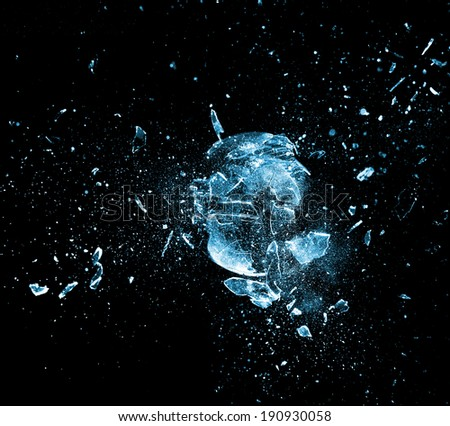 close up image of glass ball  explosion - stock photo