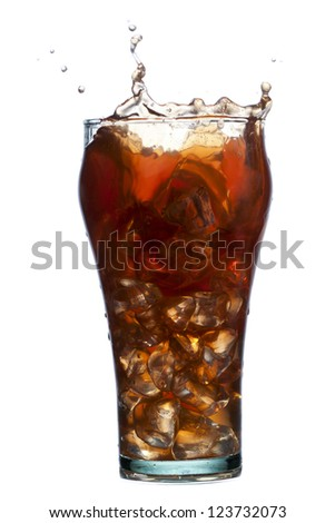 Close up image of glass of ice tea isolated on white background