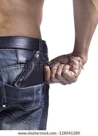 Close up image of guy getting a wallet from his pocket against white background