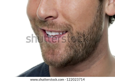Close up image of half man face against white background