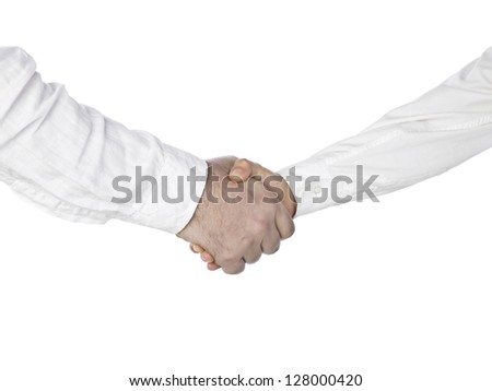 Close up image of hands shake of business people against white background