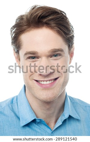 Close up image of happy young smiling man