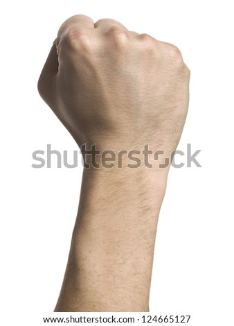 Close up image of human fist isolated on white background