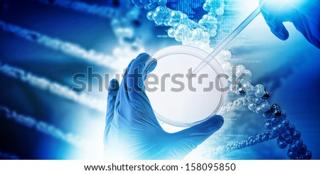 Close up image of human hand holding test tube. Science concept - stock photo