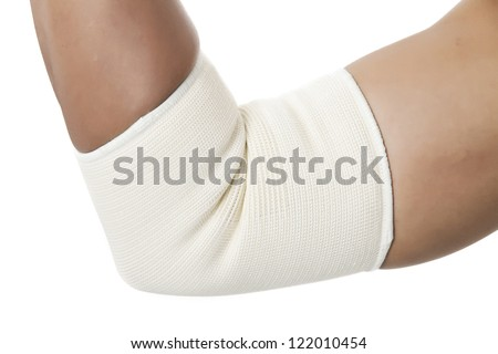Close up image of human hand with elbow band isolated on white background - stock photo