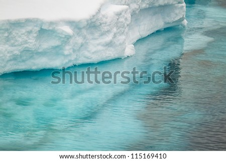 Close up image of ice berg in Antarctica - stock photo